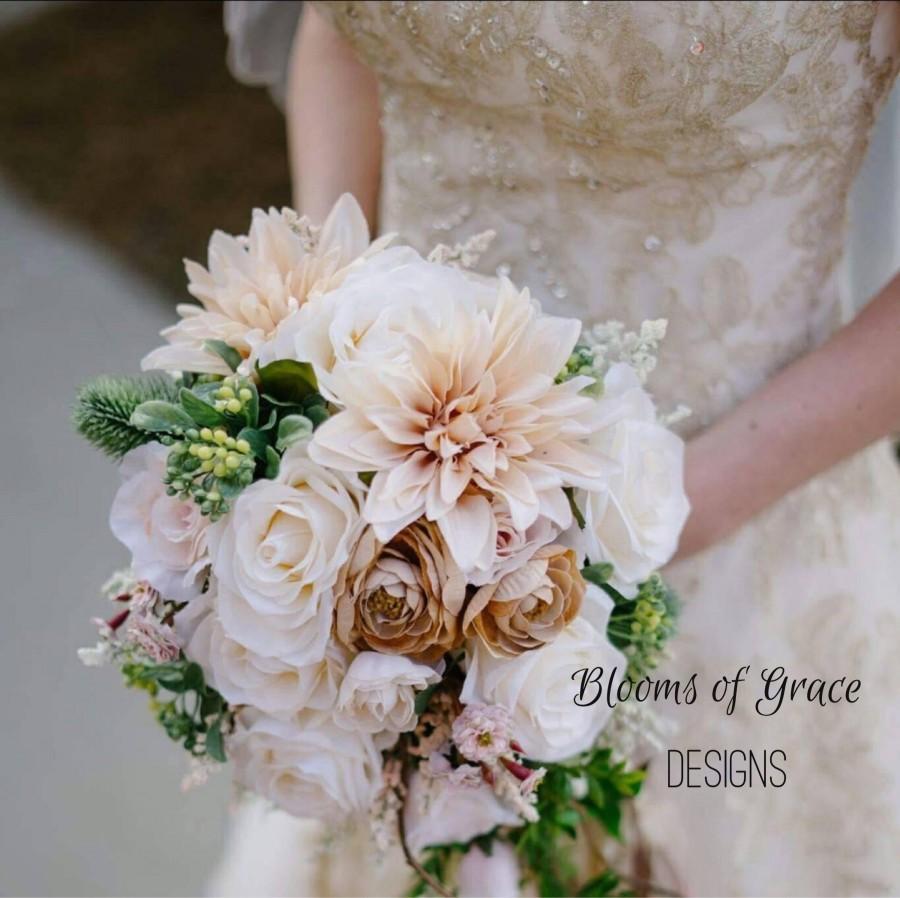 Wedding - Wedding bride bouquet, cascade bouquets, wedding roses bouquet, Ranunculus and roses bouquet, whimsical wedding flowers.