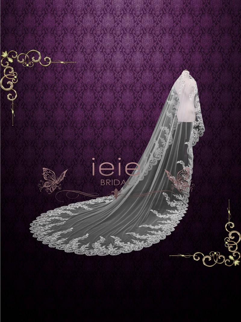 Mariage - Cathedral Lace Mantilla Veil with beadings