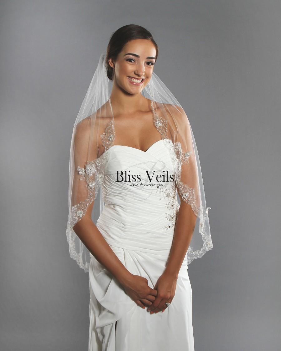 Wedding - Beaded Crystal Ivory Wedding Veil - Fast Shipping!