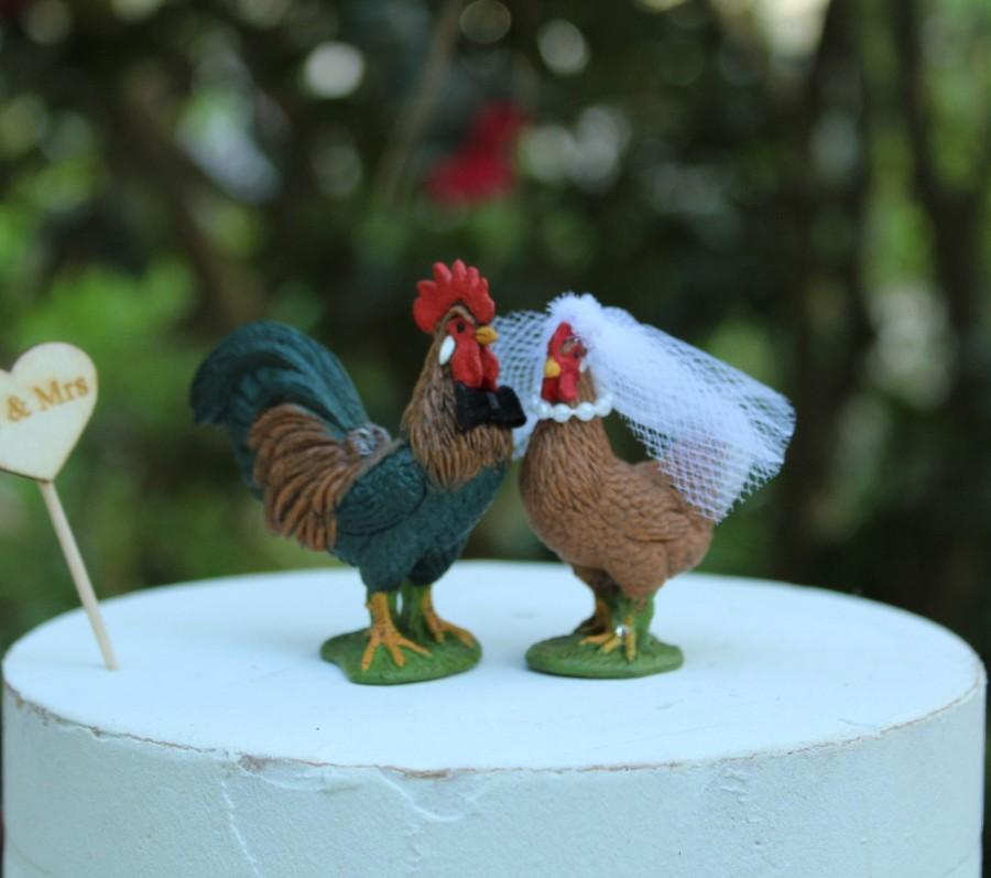 Свадьба - Rooster-Hen-Chicken-Wedding-Cake Topper-Bride-Groom-Farm-Animal-Mr-Mrs-Barn-Rustic-Country-Unique-Funny