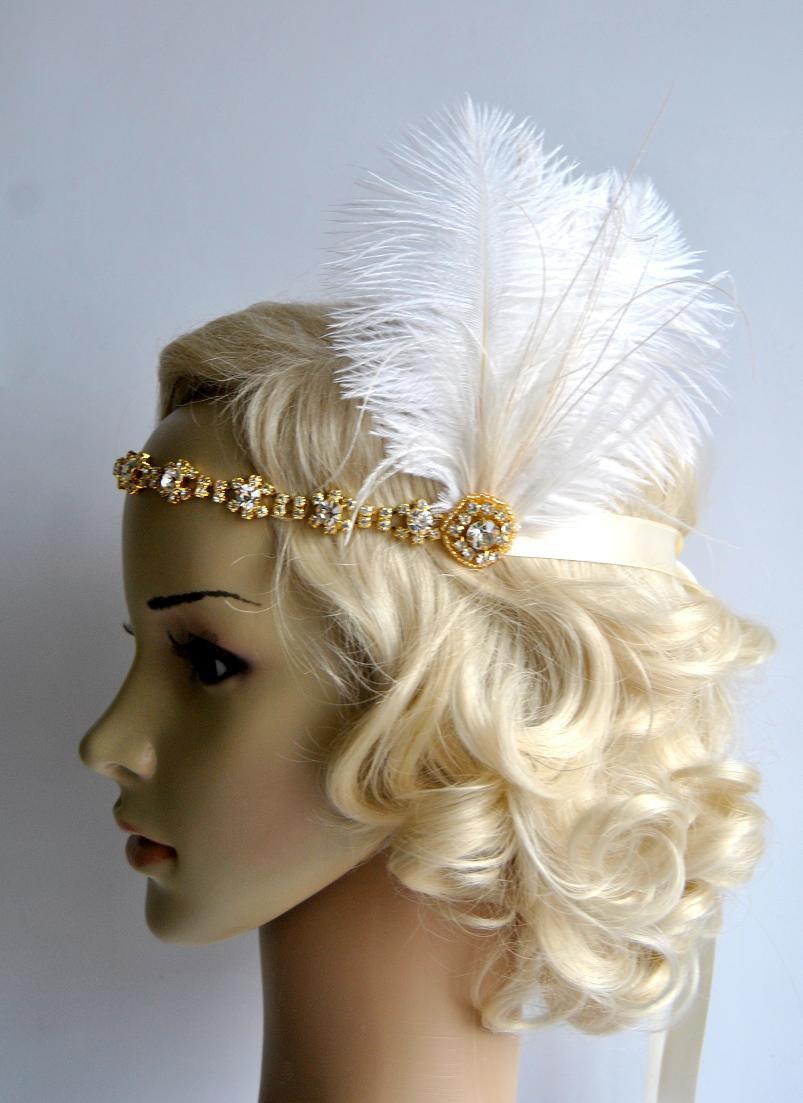 Hochzeit - Gold Crystal Rhinestone Headband Headpiece, 1920s flapper gatsby Headband, Wedding Headband, Ivory Gold Peacock rhinestone feather Headband