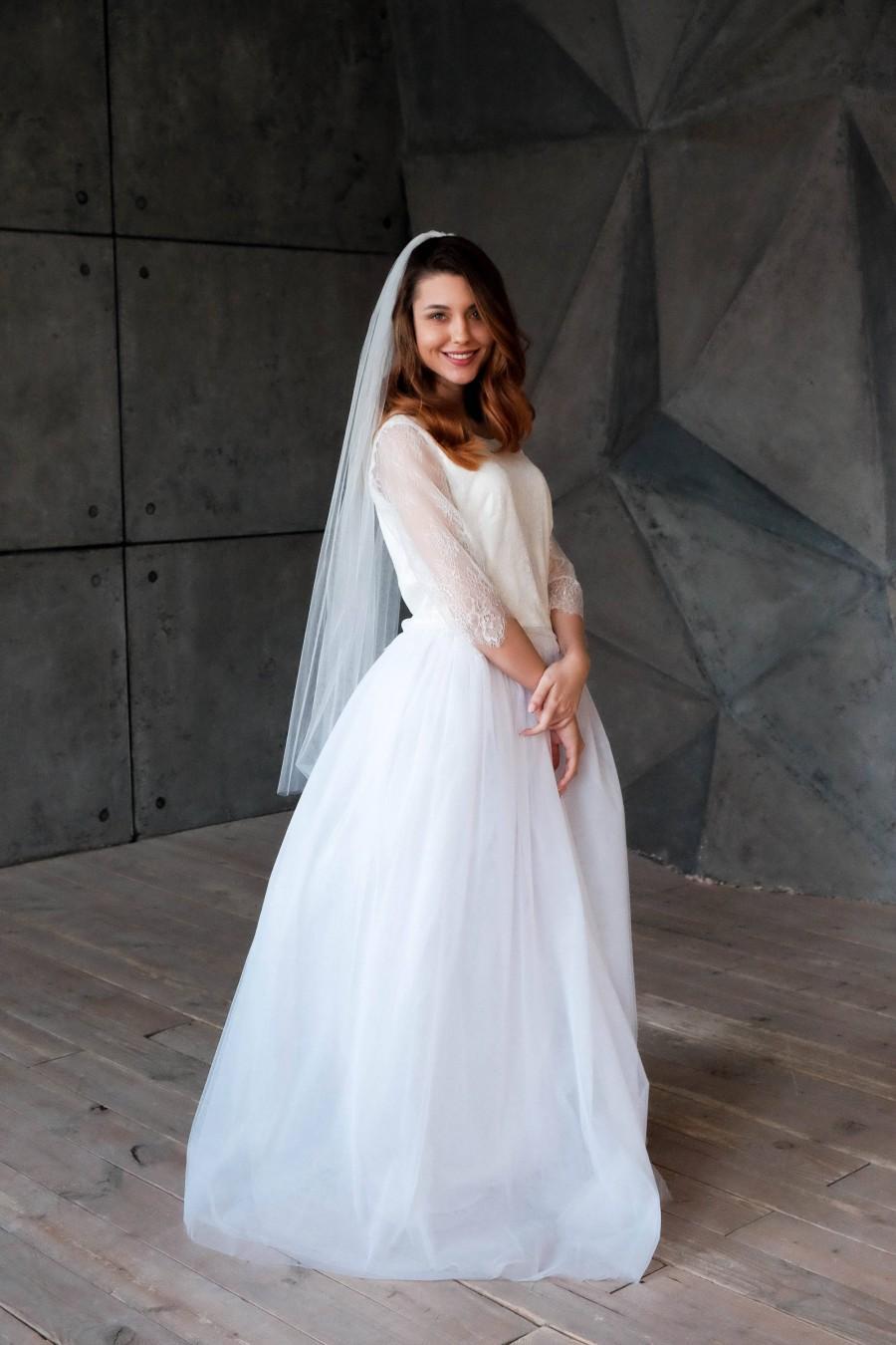 Mariage - Fingertip wedding veil, Veil, Wedding veil, Veil wedding, Cathedral veil, Bridal veil, Ivory veil