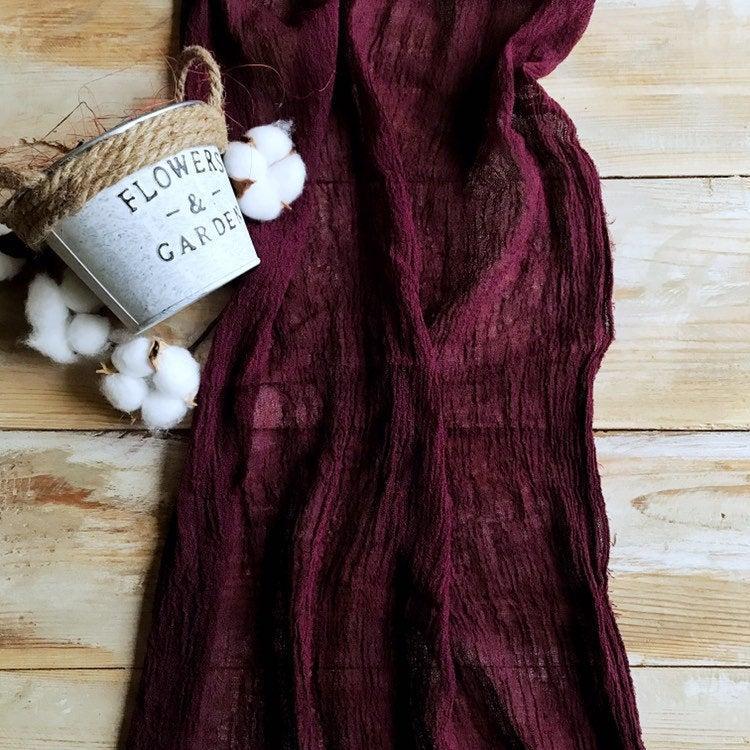 Свадьба - Gauze runner color of wine Burgundy wedding table runner Maroon table runner