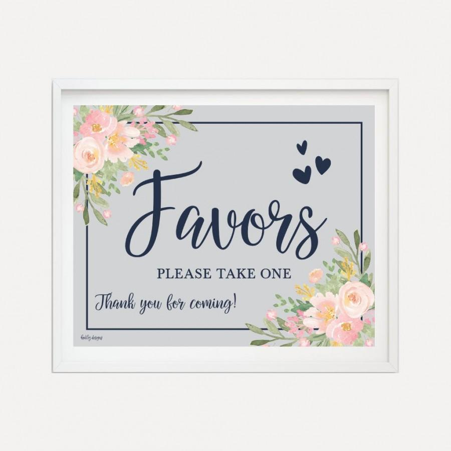 Mariage - Navy and Blush Floral Wedding Favors Sign Template - Wedding Favor Sign, Sign For Wedding Favors, Editable Favor Sign, Hadley Designs