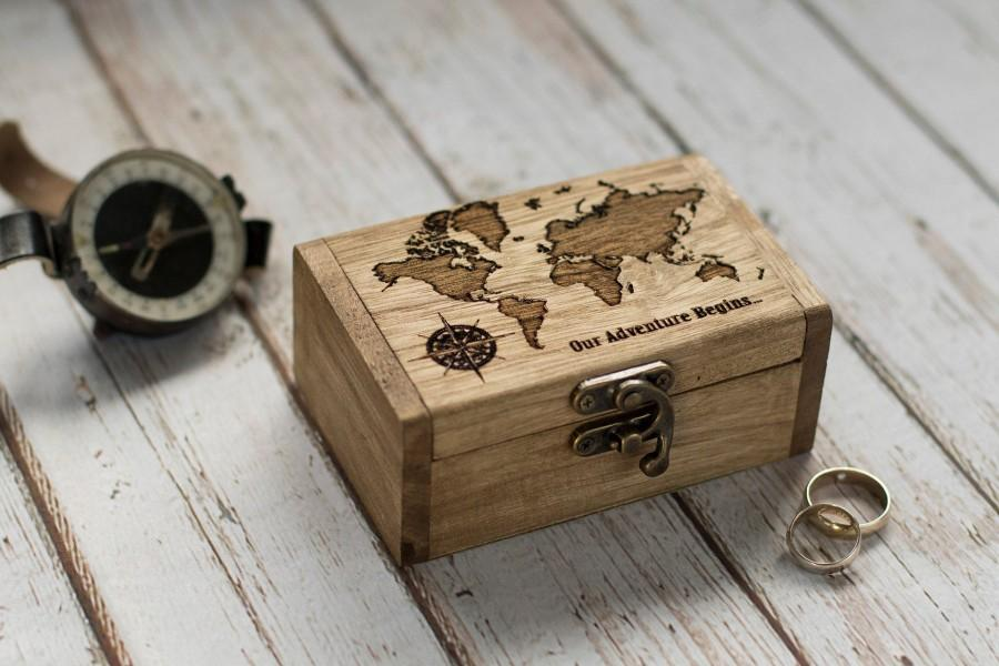 Mariage - Personalized wedding ring box, Our Adventure Begins Wedding box, Engraved ring box, Ring Bearer Box, Proposal box Engagement box Ring Holder