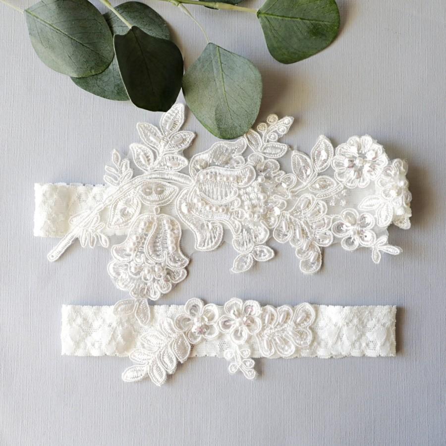 Mariage - Wedding Garter Set, Ivory Beaded Lace Garter Set,Bridal Wedding Grter,Wedding Garter Set,White Lace Garter Set, Style No. GT-76