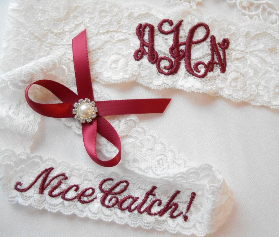 Mariage - MONOGRAMMED Wedding Garter MONOGRAMMED Bridal Garter Floral Stretch Lace Bridal Garter Single Garter