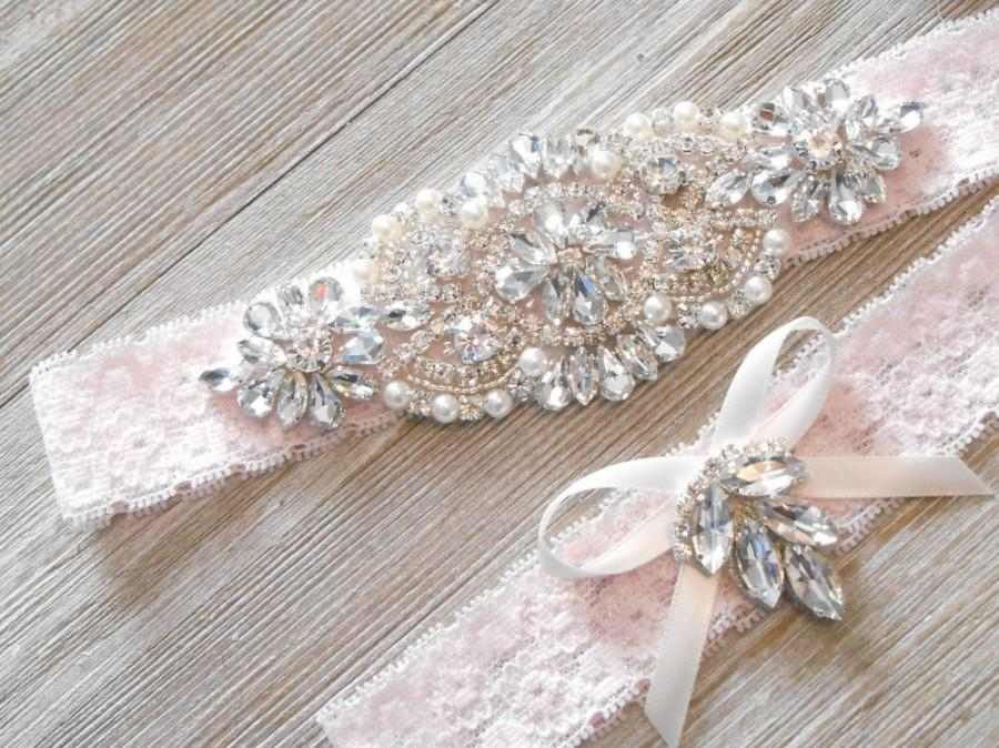 Mariage - Wedding Garter Pretty in Pink MONOGRAMMING Beautiful Silver or Rose Gold Rhinestone Piece  Bridal Garter Set Floral Stretch Lace