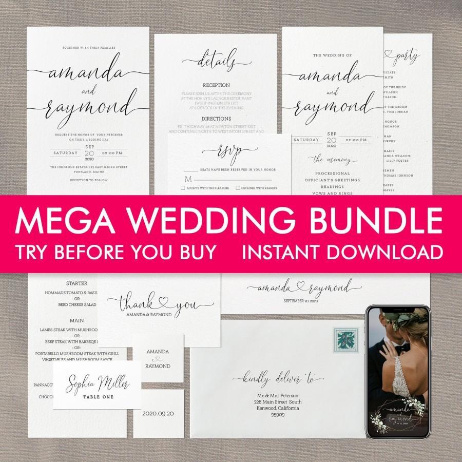 Mariage - Wedding Invitation Template Bundle, Wedding Invitation Suite, Printable Wedding Invitation Set, Wedding Program, Wedding Menu, Simple Invite