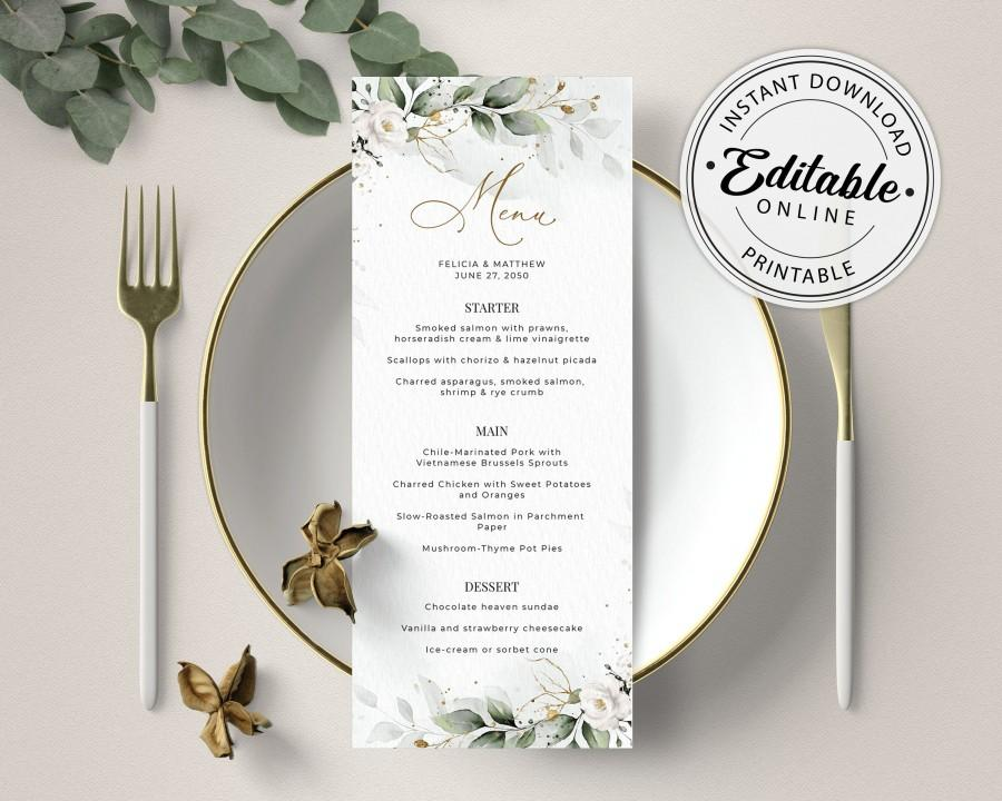 Mariage - Boho Greenery Menu with White Roses (Wedding, Bridal Shower, Dinner, Brunch) • INSTANT DOWNLOAD • Editable, Printable Template, A109