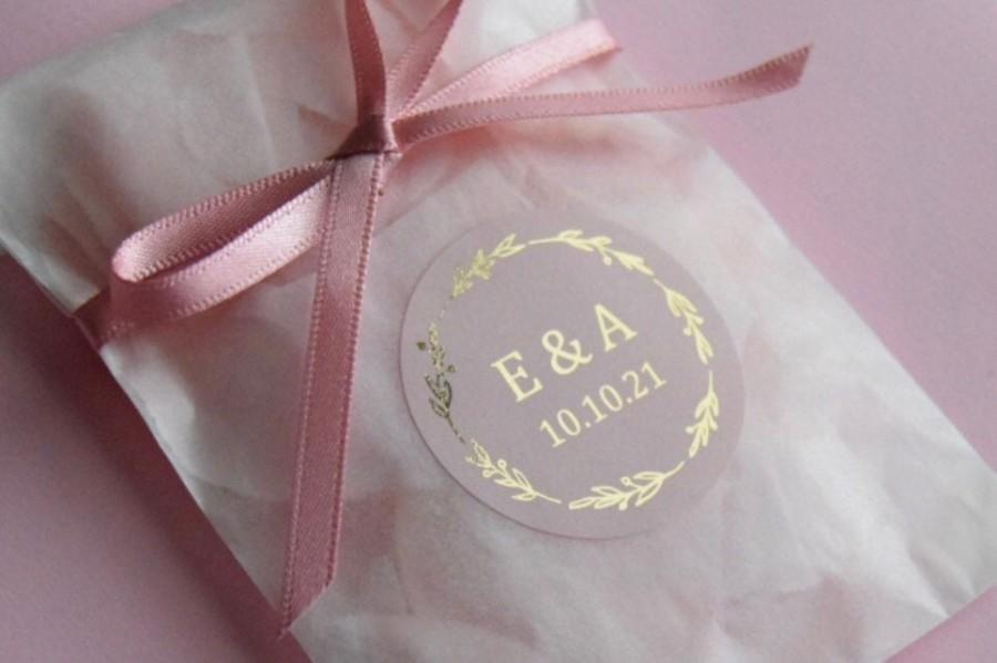 Mariage - Foil Wedding Stickers, Rose Gold Wedding Stickers, Wedding Stickers for envelopes, Custom Favor Stickers, Personalised stickers, D5