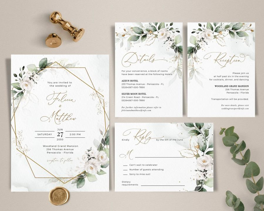 Mariage - Greenery Wedding Invitation Template Set, Greenery Wedding Invite with White Roses • INSTANT DOWNLOAD • Editable, Printable Template, A109
