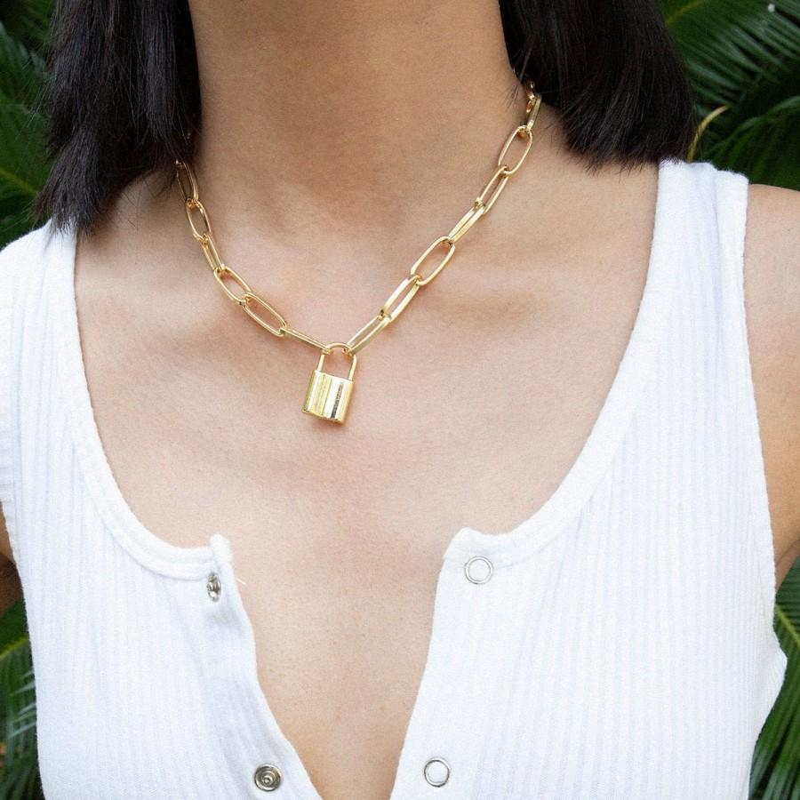 Mariage - Minimalist Lock Pendant Necklace - Gold Silver Tone Lock and Rectangle Cable Chain Necklace - Statement Metal Chain Charm Necklace