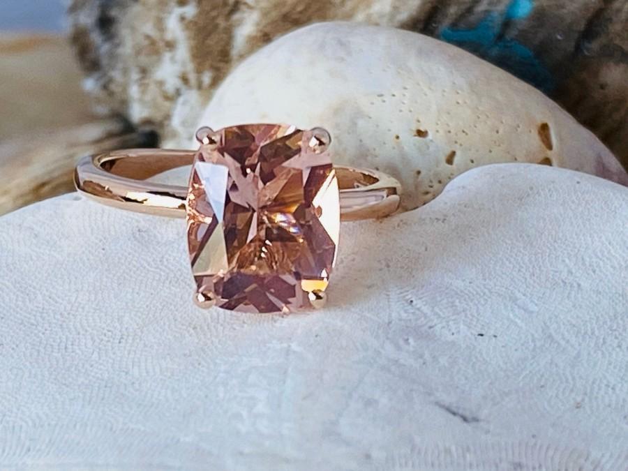 Mariage - Morganite Ring, Morganite Engagement Ring, Gold Morganite Ring, Elongated Cushion Cut Engagement Ring, Solitaire Morganite Ring