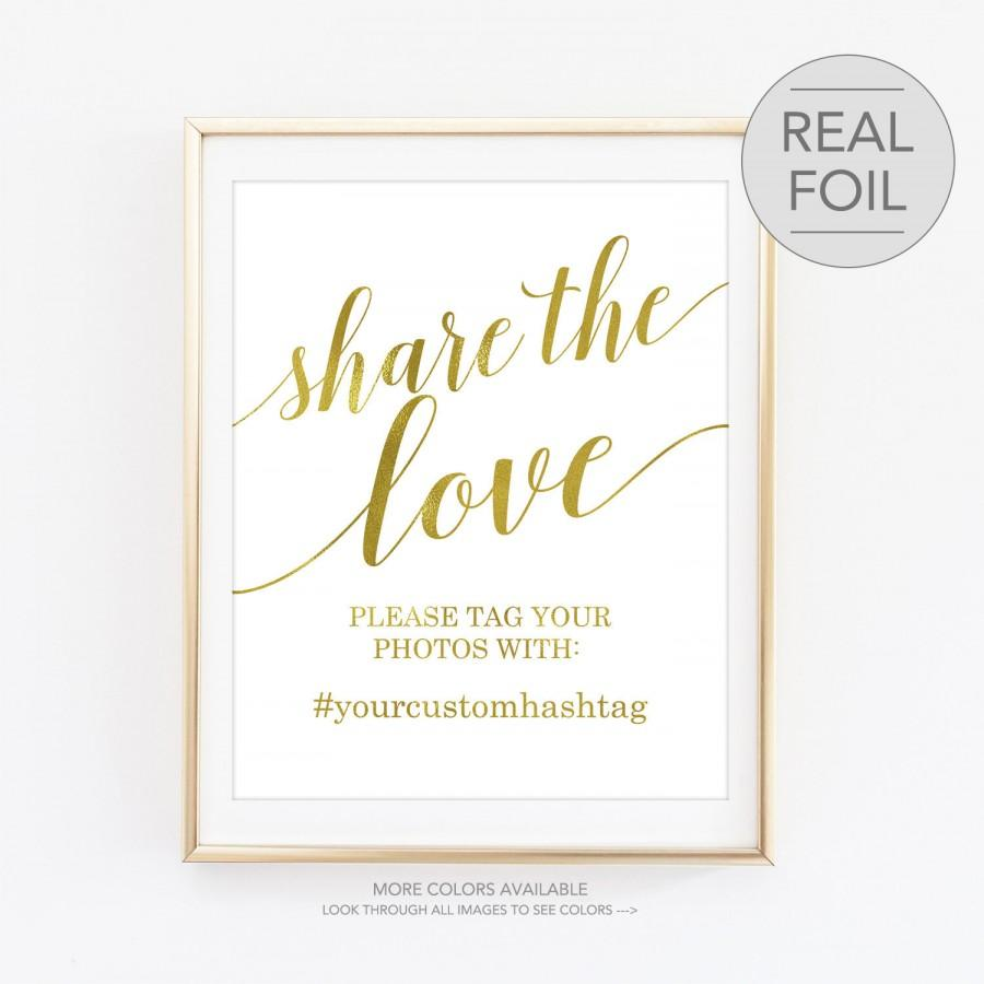 Mariage - Share the Love Hashtag Sign, Wedding Hashtag Sign, Hashtag Sign Tag Your Photo Sign, Custom Wedding Hashtag Sign Social Media (FS4)