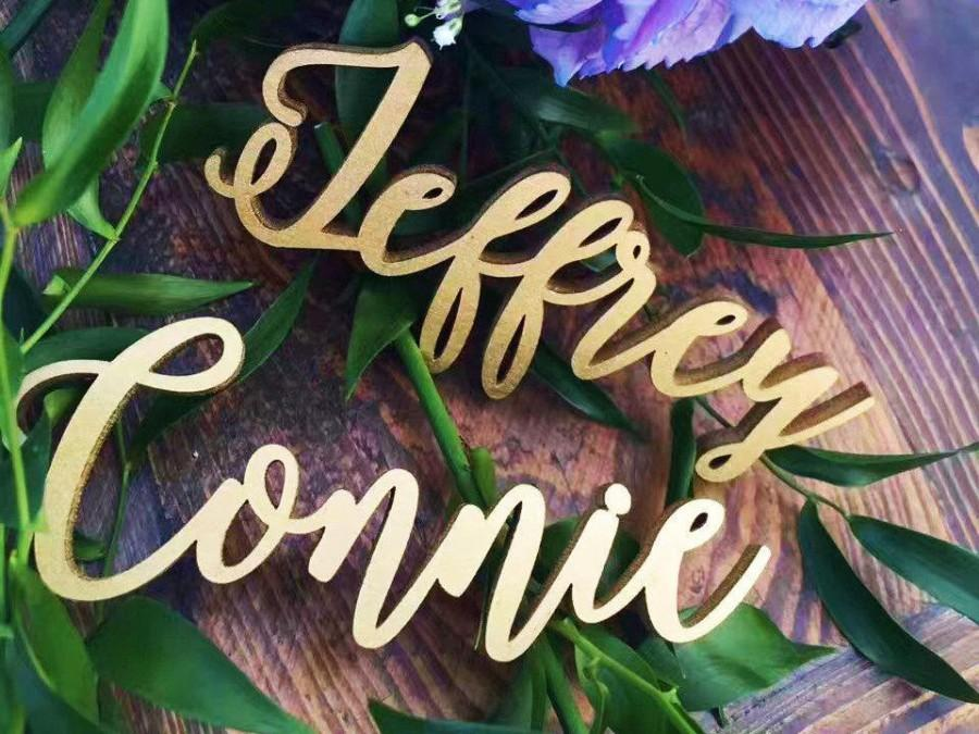 """Свадьба - Laser cut names Calligraphy cards Personalized Wedding place cards Wedding name tags - Please Send your phone number in """"NOTE to the seller"""""""