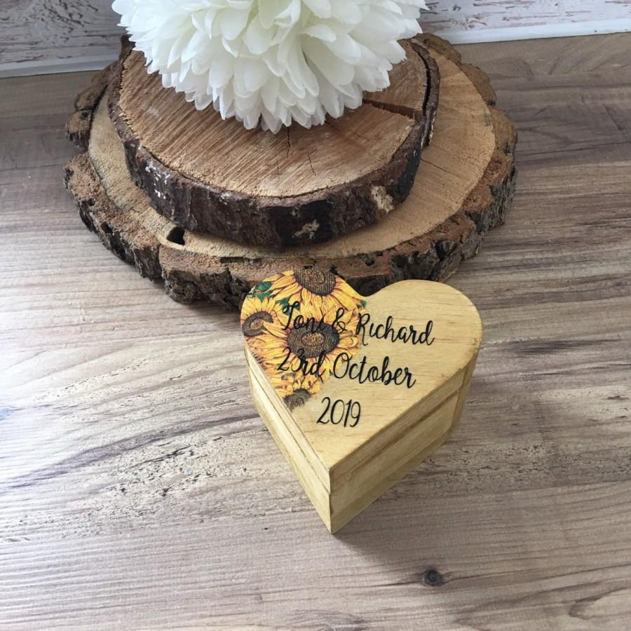 Wedding - Rustic ring box, personalised sunflower ring box, wedding ring box.