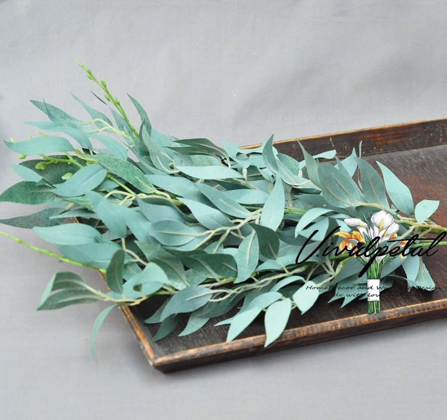 Hochzeit - 1 Stem silk willow  Leaf Artificial Eucalyptus Faux Eucalyptuses Eucalyptus Wedding Bouquet Centerpiece Home Decor Boutonnières