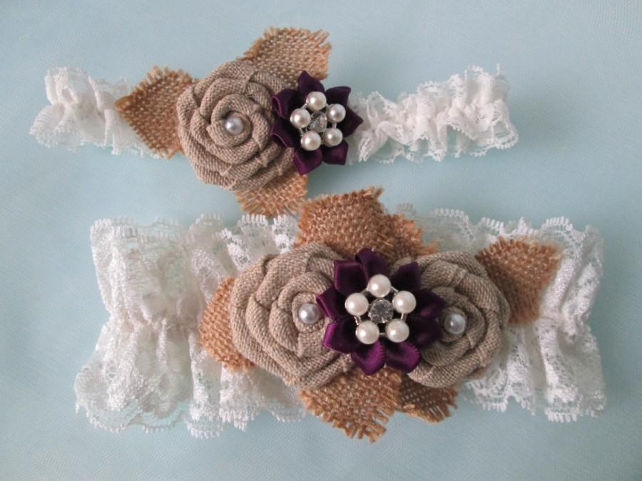 Mariage - Plum Purple Wedding Garter Set, Burlap & Lace Garters, Rustic Garters, Eggplant / Amethyst Garter, Country Bride
