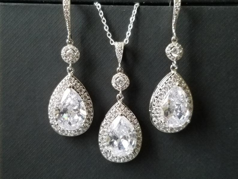 Wedding - Bridal Jewelry Set, Cubic Zirconia Earrings&Necklace Set, Wedding Teardrop Crystal Set, Chandelier Earrings, Sparkly Crystal Halo Bridal Set