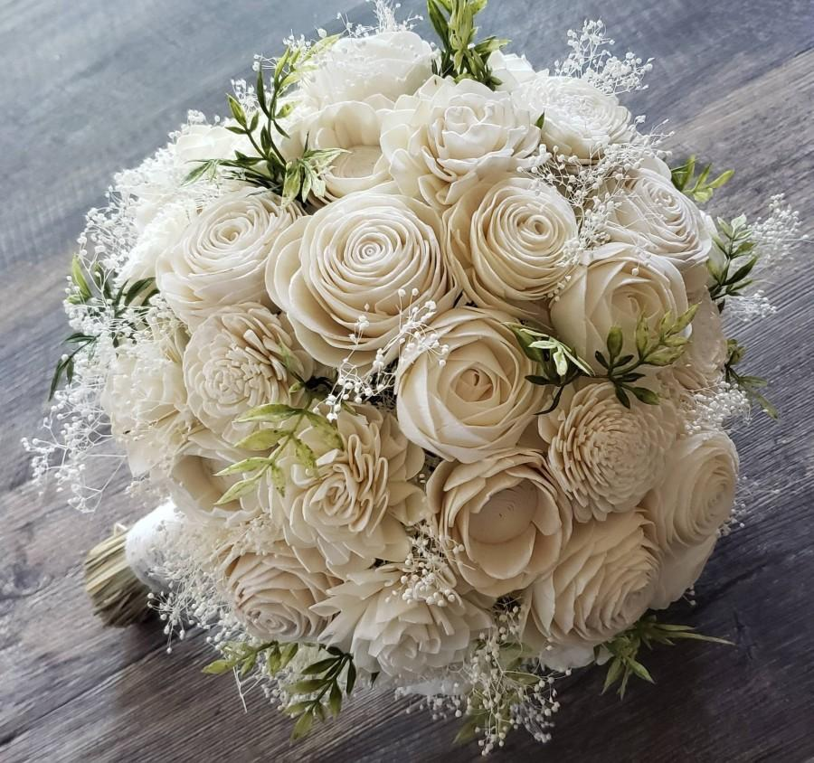 Hochzeit - Sola flower bouquet,  ivory bouquet,  natural bouquet with greenery