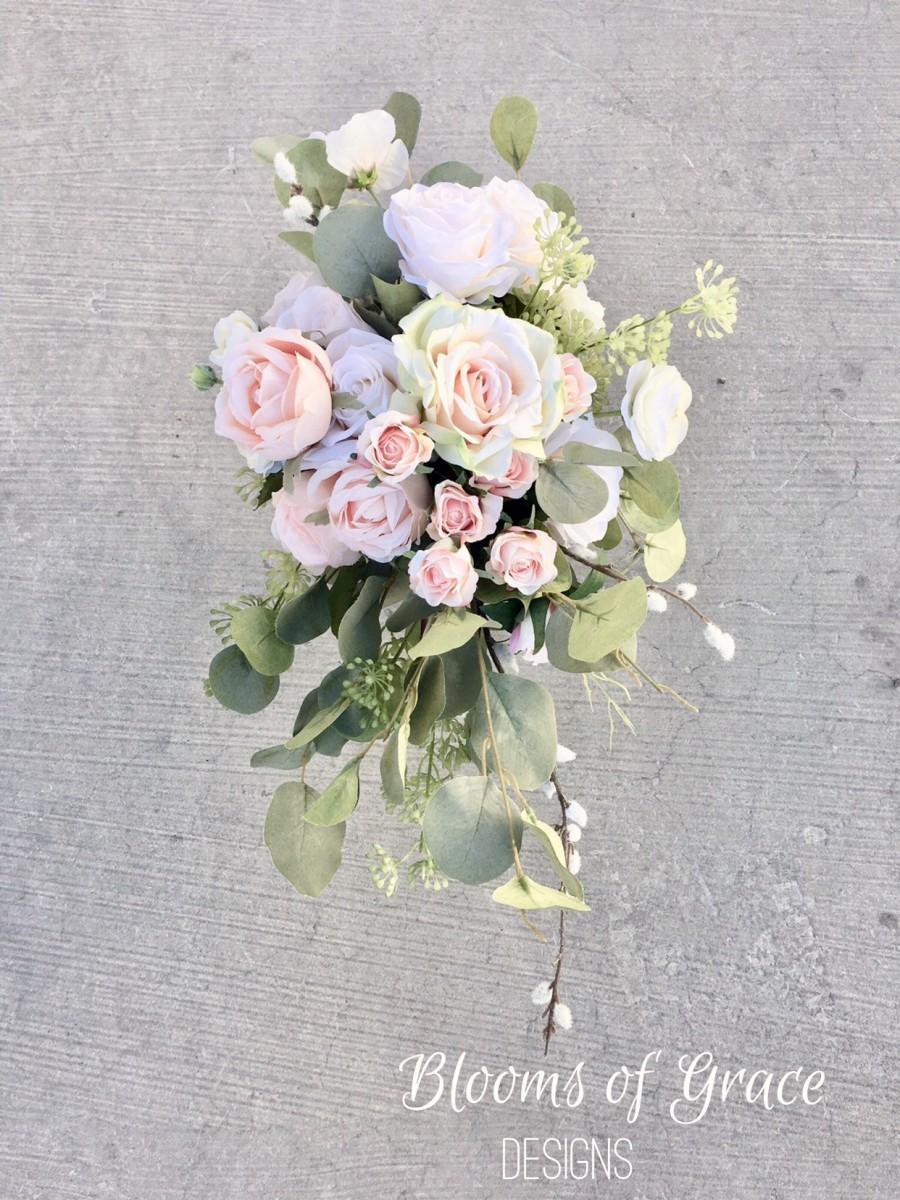 Mariage - White bridal bouquet, bridesmaids bouquet white boho bouquets, boho bride, silk wedding bouquet, artificial flowers.