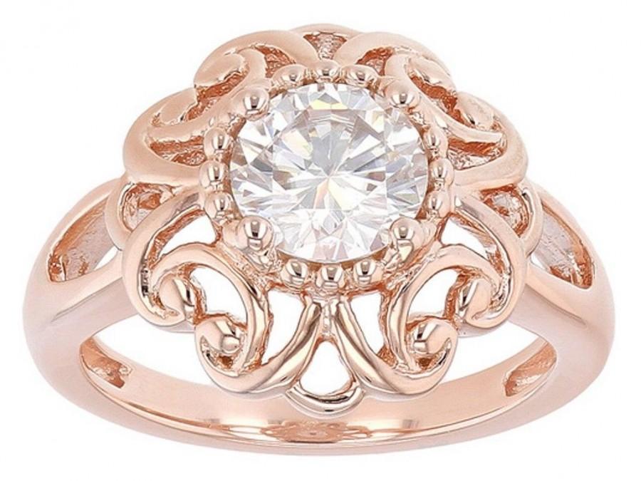 Mariage - Buy 1ct Rose Gold Moissanite Wedding Band