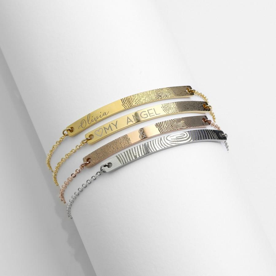 زفاف - Fingerprint Bracelet Gift for Her Finger Print Name Bracelet Wedding Anniversary Gift Best Friend Bracelet Memorial Jewelry - 12BR-F