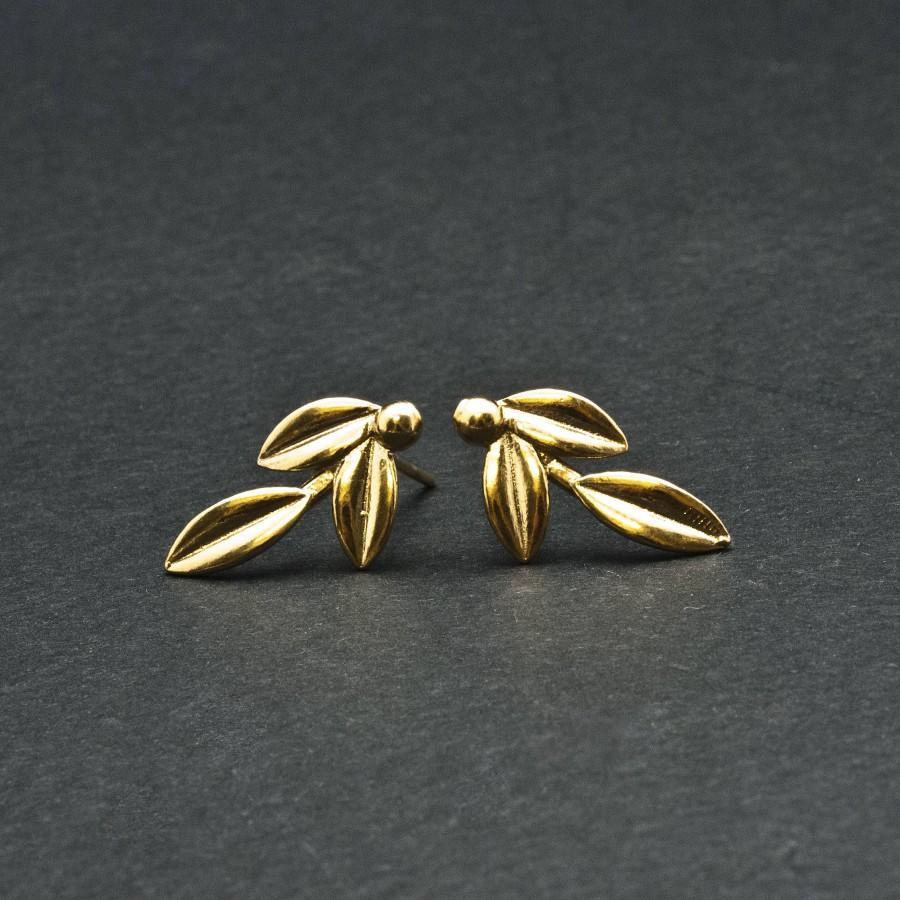 Hochzeit - Gold Olive Leaves Small Earrings, Olive Twig Stud Earrings, Olive Branch Delicate Earrings, Greek Goddess Athena Symbol, Greek Jewelry