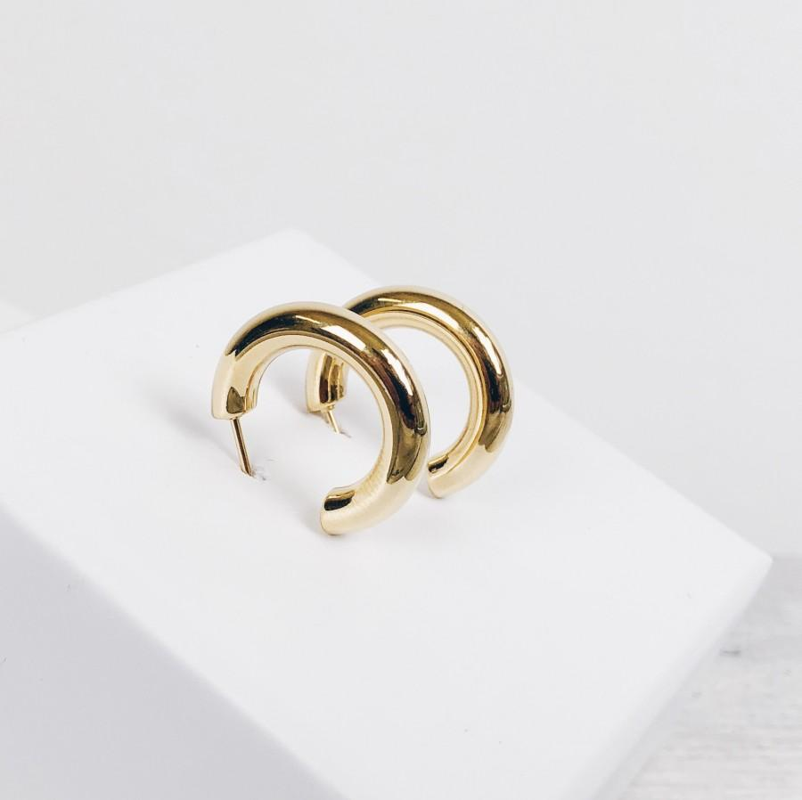 Hochzeit - Small Round Hoop Earrings Gold