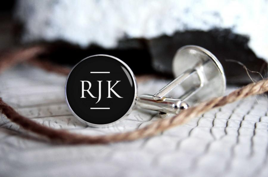 Wedding - Monogrammed initials personalized cufflinks, cool gifts for men, custom wedding silver plated or black cufflink