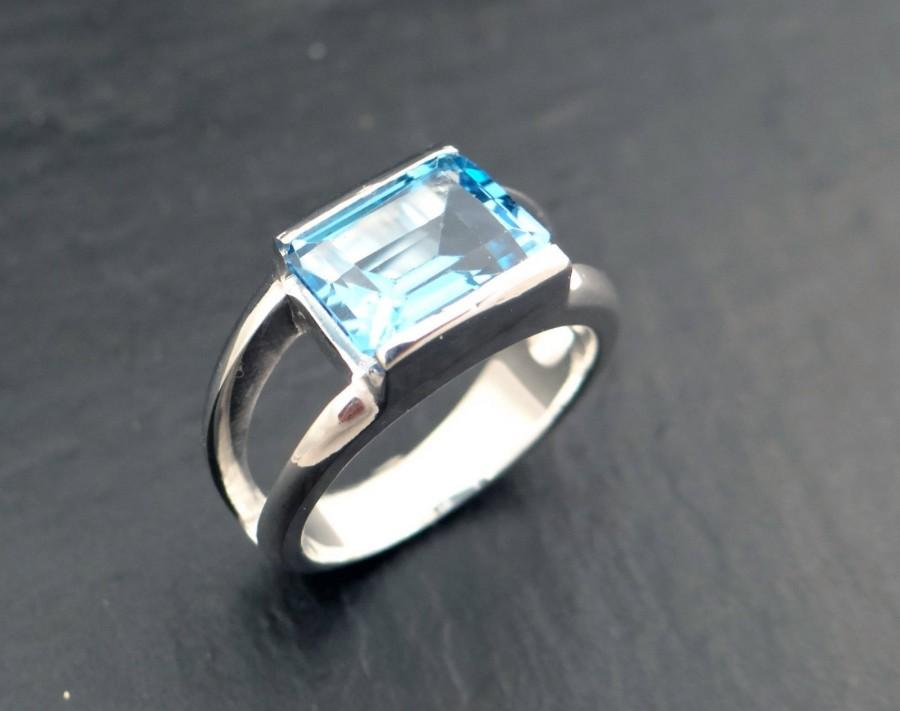 زفاف - blue topaz ring in 925/1000 silver - rhodium plated - blue topaz - rectangular size