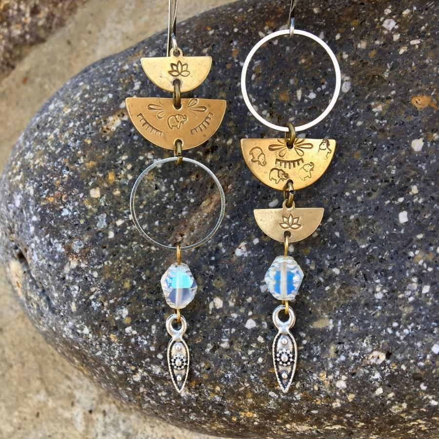 زفاف - Mixed Metal Elephant and Lotus Stamped Brass Moon Hoop Earrings with Pearlescent Czech Glass & Turkish Pewter Drops