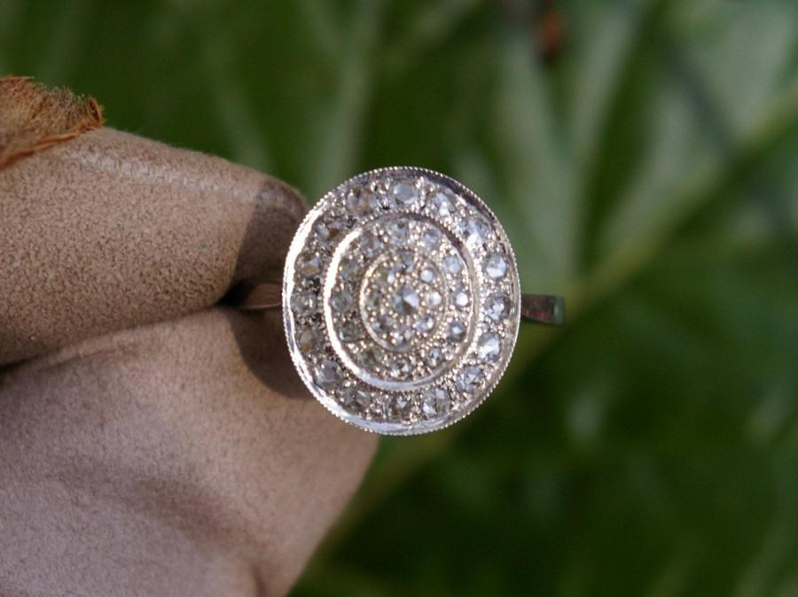Mariage - Rose cut Diamonds and 18k white gold Edwardian Engagement Ring, 1960, France