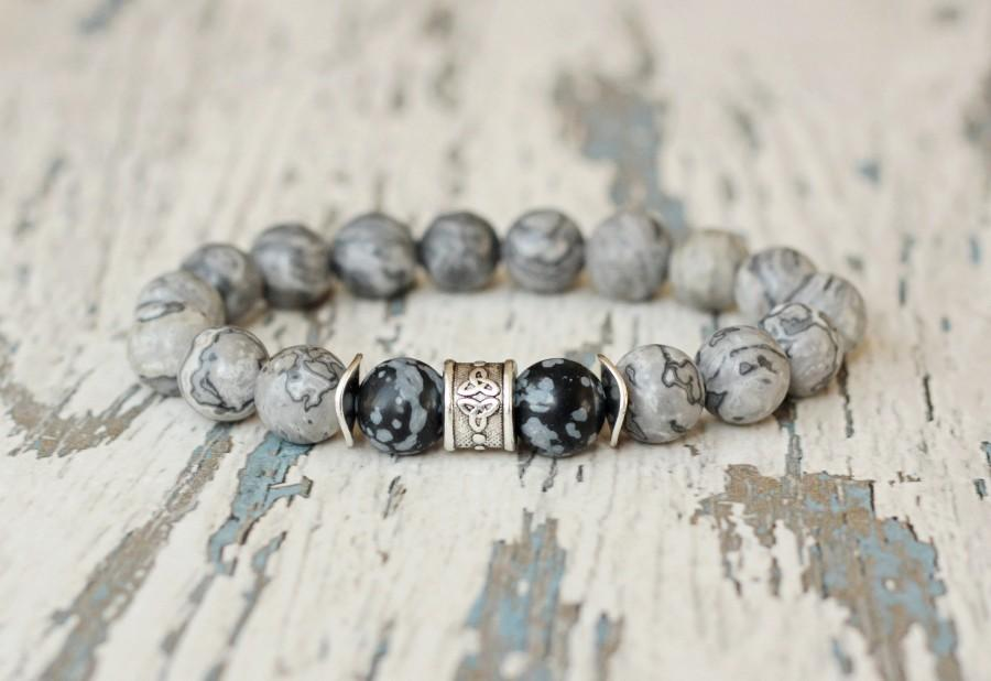 زفاف - men jewelry grey bracelet. Husband gift. Hipster bracelet. gemstone beaded bracelet. Marble beads 10mm bead snowflake obsidian