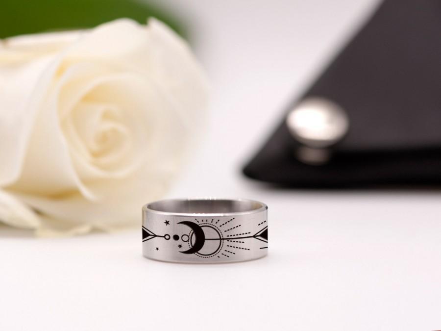 زفاف - Personalized Steel Ring Sun and Moon Ring Galaxy Jewelry Inspirational Ring Unique Engagement Ring Dainty Ring Anniversary Gift Space Ring