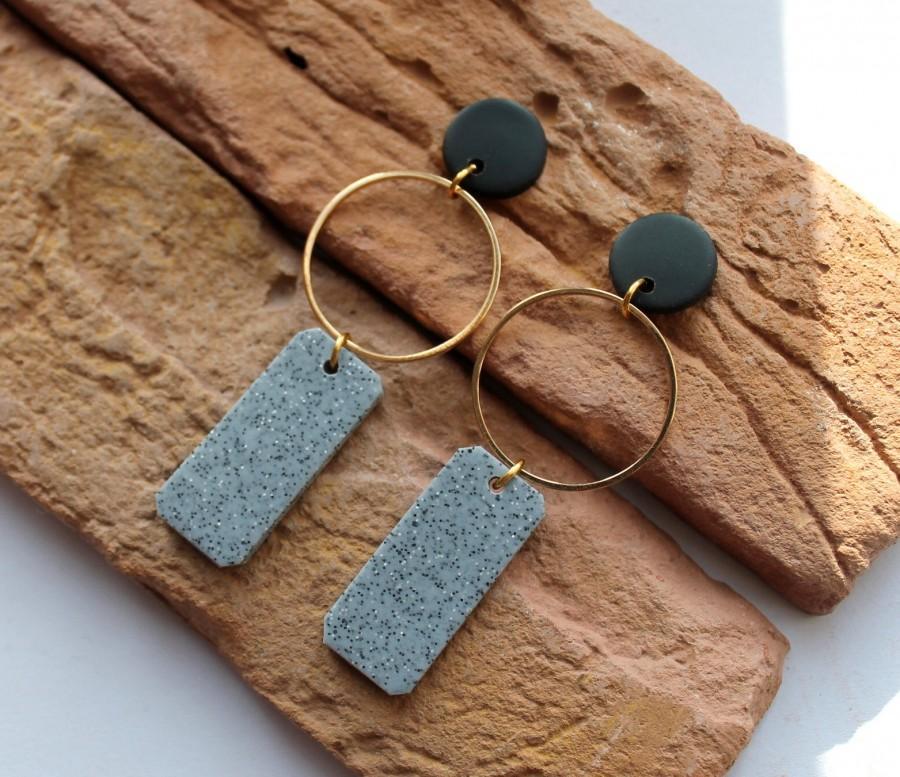Свадьба - Dangle Hoop Earrings.Polymer Clay Earrings. Granite Gray earrings. Statement Earrings. Minimalist Earrings. Geometric earrings.