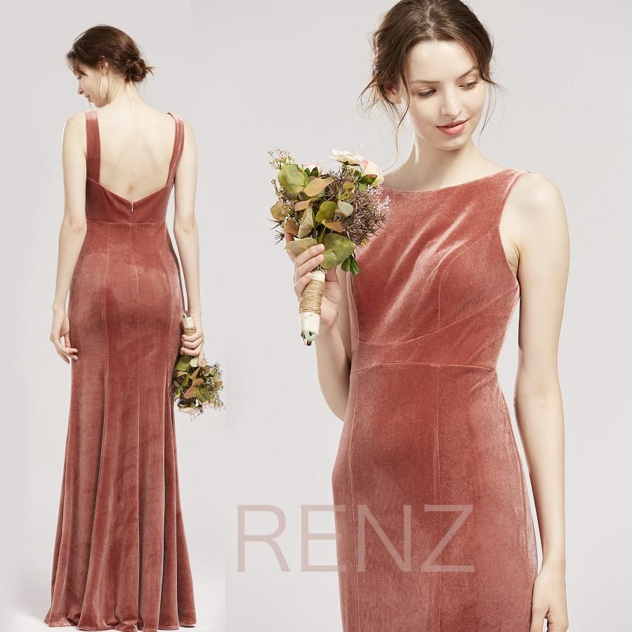 زفاف - Bridesmaid Dress Dusty Rose Velvet Prom Dress Long Boat Neck Sheath Party Dress Open Back Wedding Dress Fitted Women Formal Dress (LV562B)