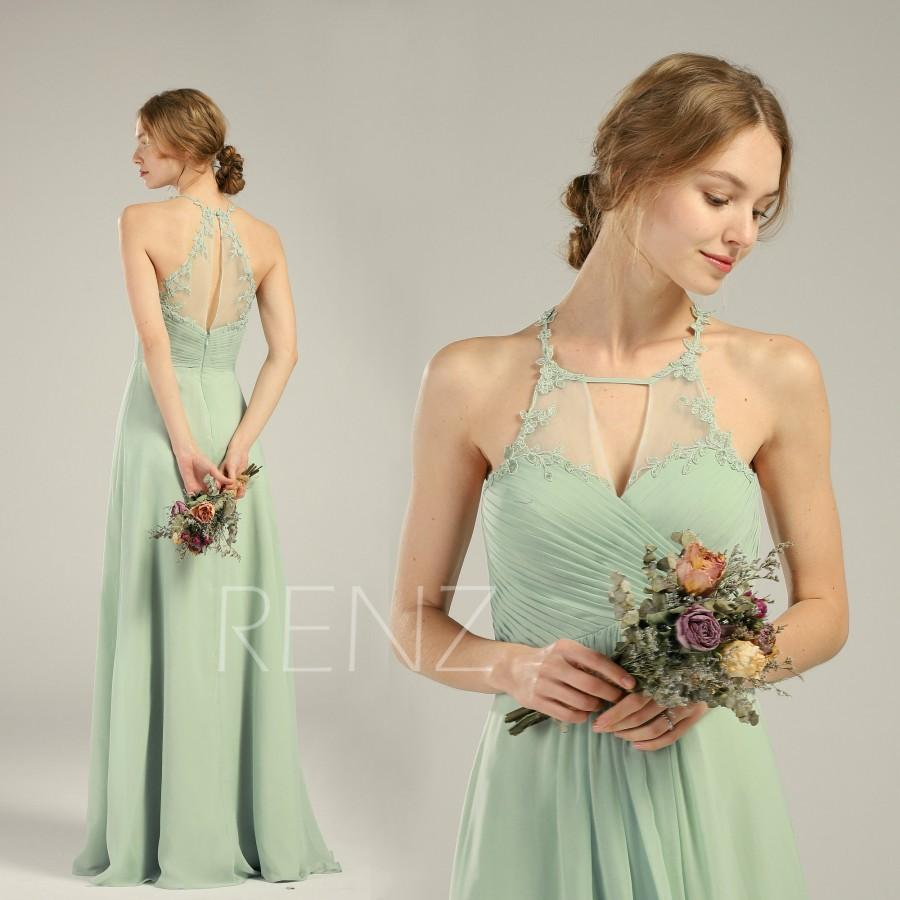 Свадьба - Bridesmaid Dress Dusty Mint Chiffon Dress Wedding Dress Halter Neck Maxi Dress Sweetheart Party Dress Illusion Lace Back Prom Dress(H690)