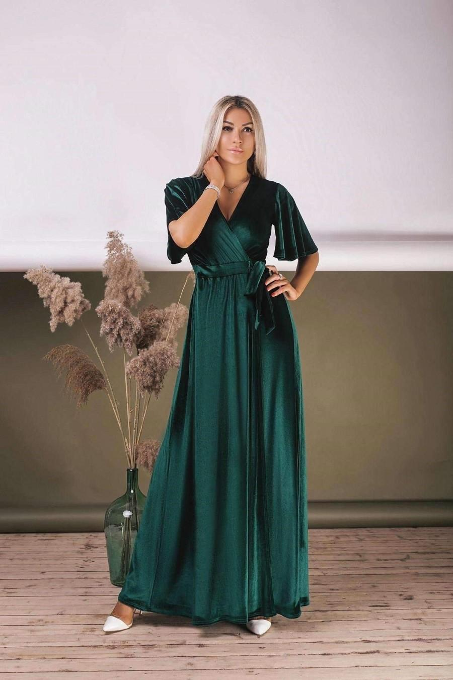 Mariage - Emerald Green Velvet Dress, Flutter Sleeve Long Dress, Wrap Maxi Dress, Bridesmaid Wrap Gown, Velvet Bridesmaid Dress
