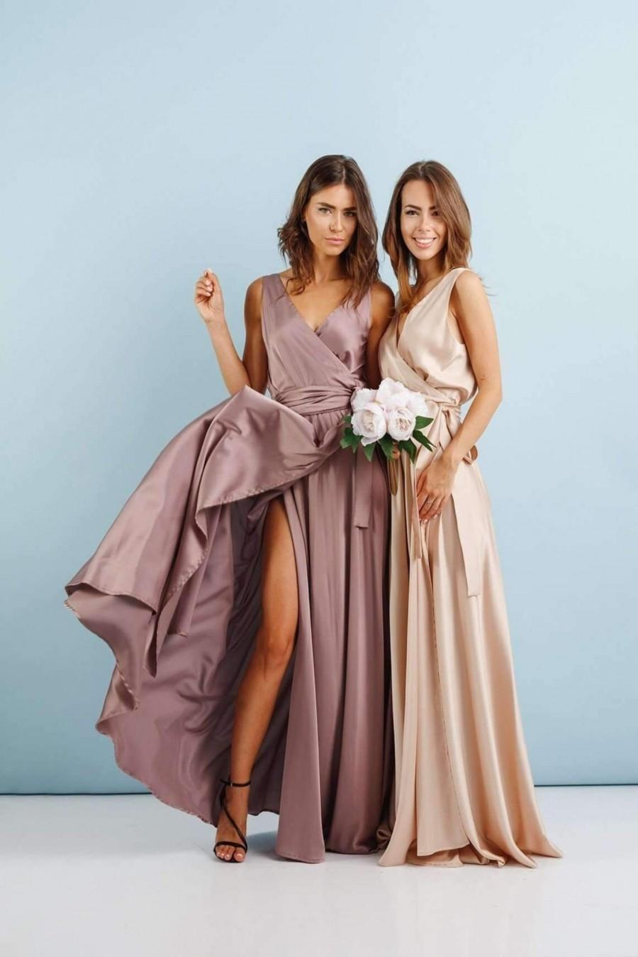 Wedding - Mauve Wrap Dress, Sleeveless Long Dress, Silk Maxi Dress, Wrap Bridesmaid Gown, Bridesmaid Wrap Dress, Bridesmaid Maxi Dress