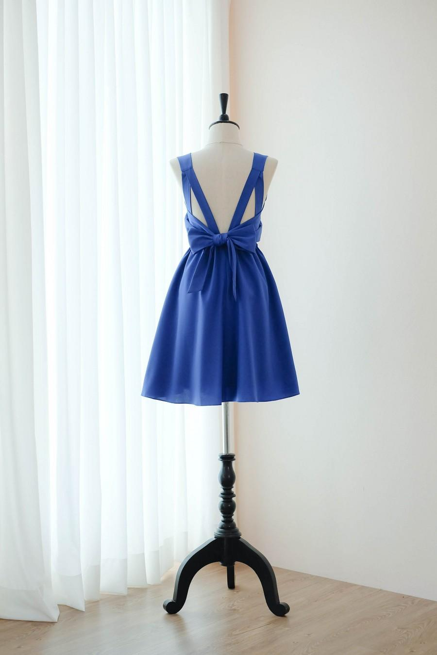 Hochzeit - Royal blue dress indigo Bridesmaid dress Wedding Prom dress Cocktail Party dress Evening dress Backless bow dress