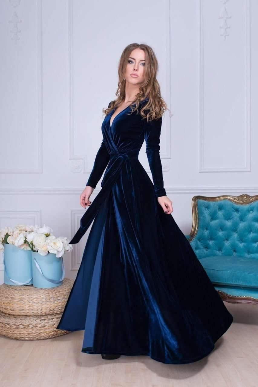 زفاف - Navy Blue Velvet Dress, Long Sleeve Velvet Dress, Wrap Maxi Dress, Bridesmaid Wrap Gown, Velvet Bridesmaid Dress