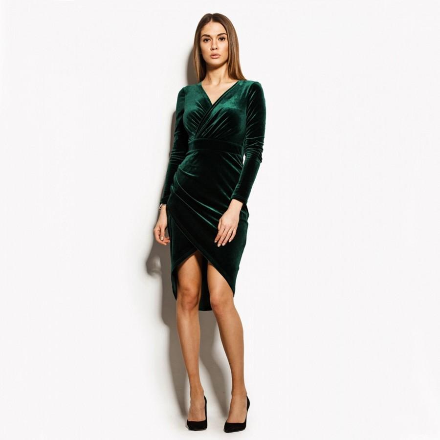 Свадьба - Green Velvet Dress, Emerald Dress, Long Sleeve Dress, Green Wrap Dress, Bridesmaid Dress, Cocktail Dress