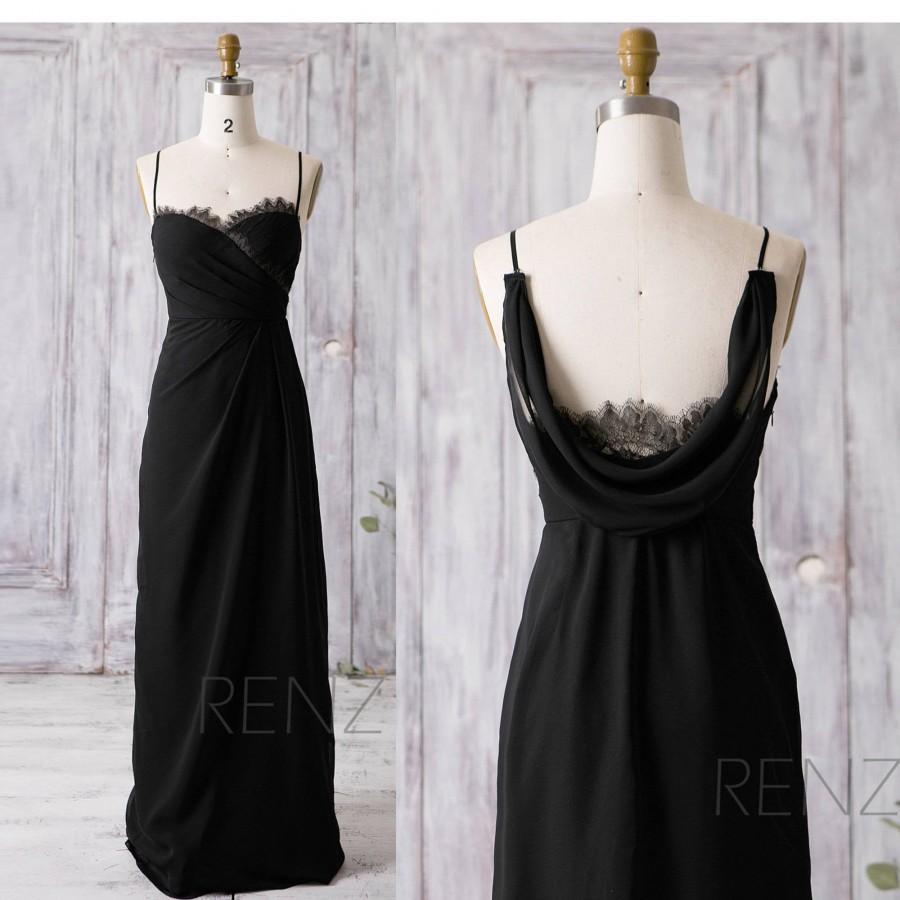 Свадьба - Black Bridesmaid Dress Lace Wedding Dress Long Black Prom Dress Illusion Cowl Back A-line Formal Dress Spaghetti Straps Party Dress(Z091)