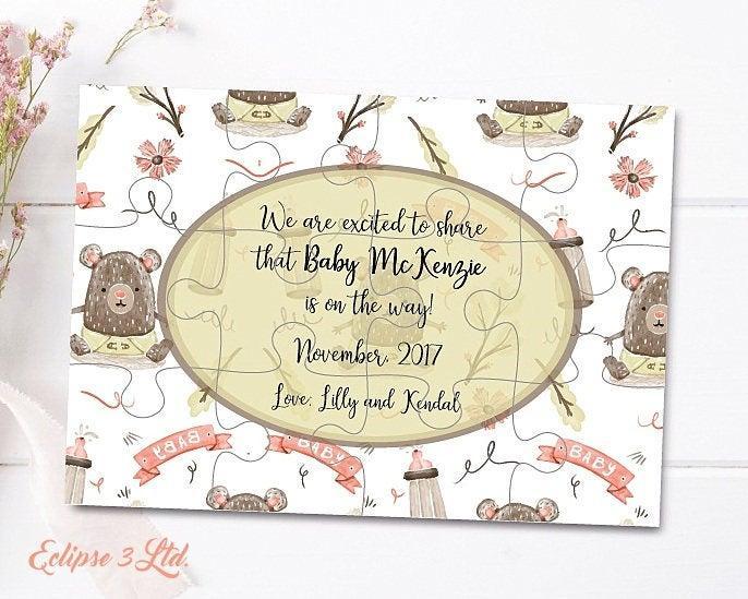 Свадьба - Pregnancy announcement cards Pregnancy puzzle announcement gift pregnancy Baby announcement card Announces baby The family grows Pregnancy