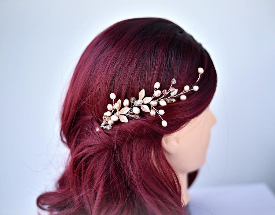 Свадьба - Rose Gold Wedding Hair Vine, Bridal Hair Vine, Pearl Hair Accessory, Bridal Hair Comb, Hair accessories, Hair clip rose gold