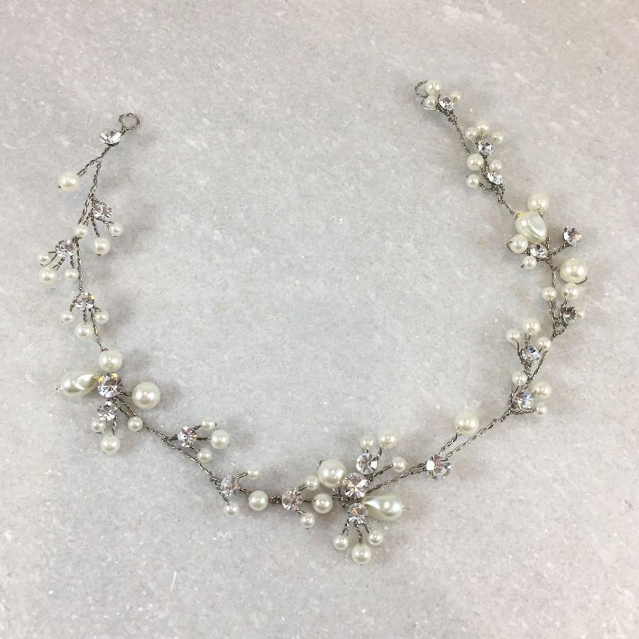 Свадьба - Vintage Silver Pearl & Diamante Hair Vine