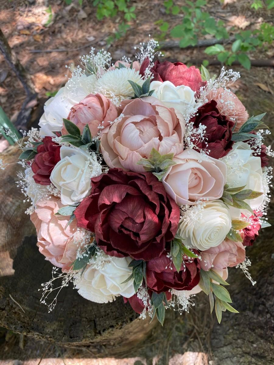 Mariage - READY to SHIP Wedding Bouquet Burgundy Bouquet Burgundy Dusty Pink Bouquet Rustic Bouquet Wedding Bouquet Sola Bouquet Burgundy Dusty Pink