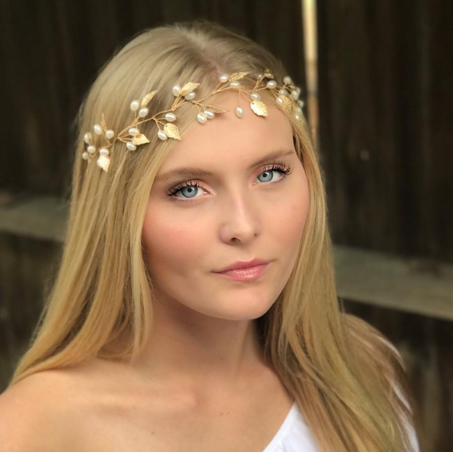 Mariage - Boho Inspired Leaf Hair Vine, This Simple Leaf Hair Accessory Comes In Gold Or Silver